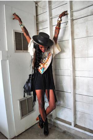 black Topshop boots - black Topshop dress - black Nasty Gal hat