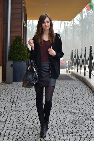 black vagabond boots - black H&M tights - black Michael Kors bag