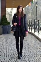 black vagabond boots - black Sheinside coat - magenta Choies sweater