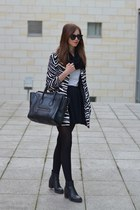 black vagabond boots - white Choies coat - black Celine bag