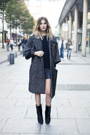 charcoal gray romwe coat