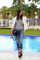 white Sheinside blazer - blue Zara jeans - navy Choies shirt