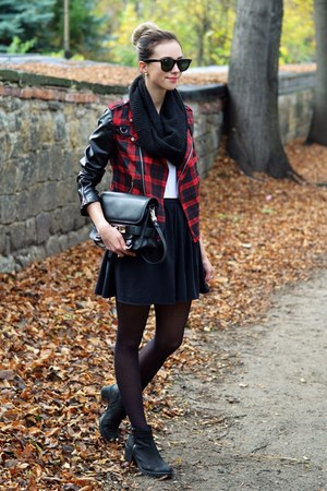 black boots - brick red JollyChic jacket - dark brown Ray Ban sunglasses