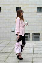 light pink Forever 21 blazer - black Topshop jeans - white Choies shirt