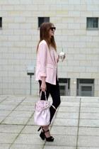 light pink Forever 21 blazer - black Topshop jeans - white Choies shirt