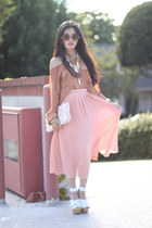 light pink Romwecom skirt - off white Chanel purse - bronze vintage tie