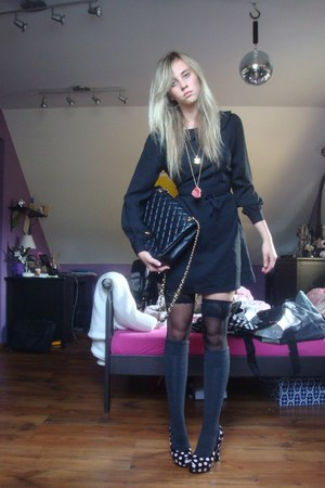 black Topshop dress - black H & M tights - black Chanel bag - gray lindex socks