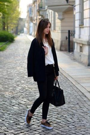 black Choies coat - brown Vans shoes - black Topshop jeans - ivory Mango shirt