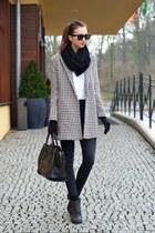 black vagabond boots - ivory vjstyle coat - black Topshop jeans