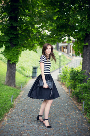 black Choies dress - black Chanel bag - black Zara heels - white asos top