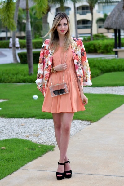 orange vjstyle blazer - peach choiescom dress - ivory Choies bag
