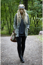 black vintage boots - army green Topshop sweater - charcoal gray Zara shirt