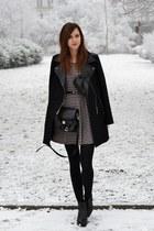 black vagabond boots - white Choies dress - black Chicwish coat