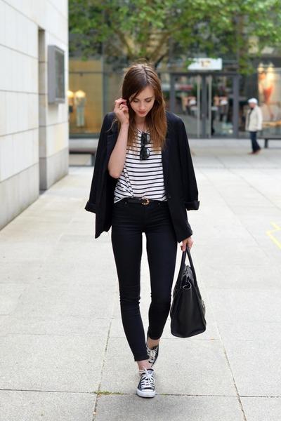black Converse shoes - black Topshop jeans - black Sheinside blazer