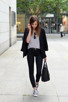 black Converse shoes - black Topshop jeans - black Sheinside blazer