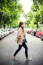 black Topshop jeans - tan H&M shoes - camel Choies coat