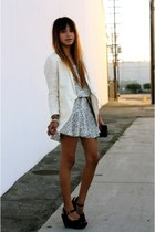 black Topshop heels - ivory Nasty Gal dress - ivory H & M blazer