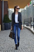 gray vjstyle sweater - black vagabond boots - blue Topshop jeans