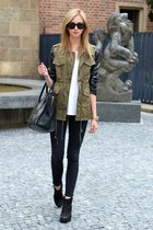 black vagabond boots - black Topshop jeans - army green Chicwish jacket