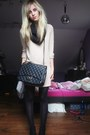 Black-unknown-brand-boots-tan-mango-sweater-black-h-m-tights