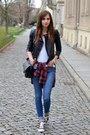 Blue-topshop-jeans-black-sheinside-jacket-brick-red-choies-shirt