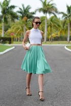 aquamarine asos skirt - white Choies bag - dark brown Ray Ban sunglasses
