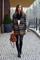 yellow Choies coat - black vagabond boots - black Topshop jeans