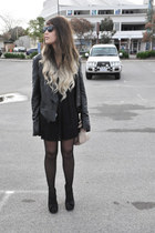black wholesale boots - black Zara dress - black Topshop jacket
