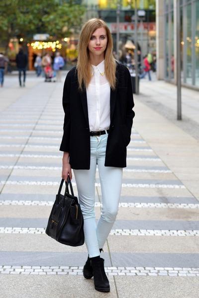 black vagabond boots - black Choies coat - black Celine bag