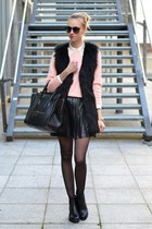 black vagabond boots - light pink Choies sweater - black Celine bag