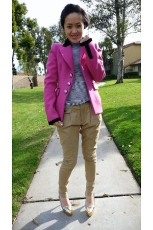 pink balenciaga blazer - yellow Miu Miu shoes - black Gap shirt