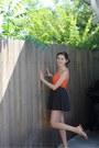 Orange-cache-top-black-polka-dot-cotton-on-skirt-black-vintage-belt