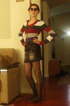 purple Aeropostale top - black skirt - black tights - Wetseal shoes