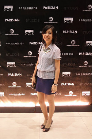 random brand top - peep toe Parisian pumps - purple bandage Forever 21 skirt