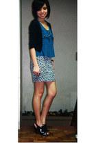 silver animal print Forever 21 skirt - black peep toe australian heels