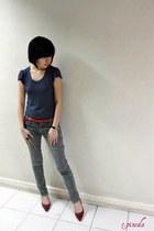 navy random top - red random belt - red SM Elegance shoes - jeans