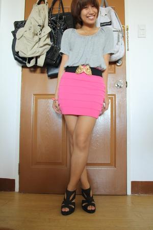 GU top - H&M skirt - belt - Fuddyduddy shoes