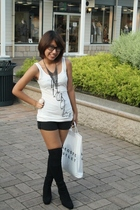 gray Forever21 accessories - black knee high boots - black shorts