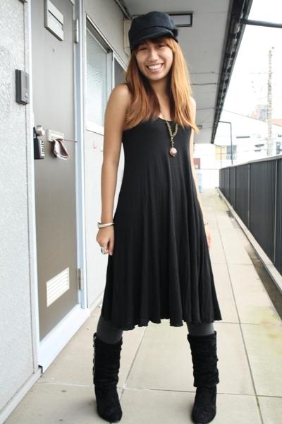 black H&M dress - black 168 boots - black military hat - gray cotton GU tights