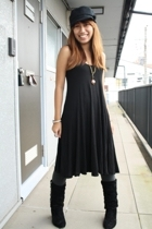 black H&M dress - black 168 boots - black military hat - gray cotton GU tights