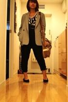 Michel Klein Paris blazer - FCUK belt - H&M pants - top - Olivedes Olive accesso