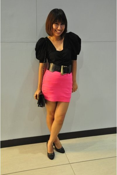 pink bandage H&M skirt - black People R People shoes - black H&M top