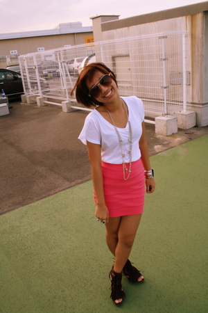 brown fringed heels shoes - brown aviator Mango glasses - pink bandage H&M skirt