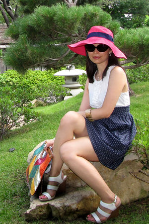pink Ralph Lauren hat - blue Forever 21 dress - white Nine West shoes - brown Ni