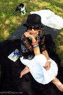 white maxi Victorias Secret dress - black Forever 21 hat - black Chanel sunglass