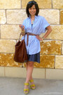 dark brown darcy Alexander Wang bag - yellow Wanted wedges - navy random skirt -