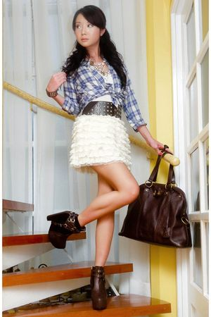 Blue-british-india-shirt-white-random-skirt-brown-soule-boots-brown-ysl-pu