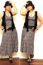 Maxi-h-m-dress-forever-21-hat-fringe-target-vest-forever-21-clogs