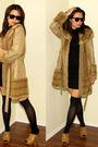 brown random coat - black checkoutkatmultiplycom dress - black Calzerotto stocki
