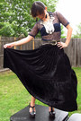 navy lace Rodarte for Target top - black velvet vintage skirt - dark brown Forev